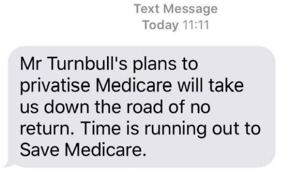 The controversial text message warning of a threat to Medicare from the Coalition.