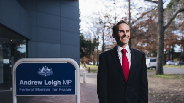 Andrew Leigh outside his Braddon office, which he will be forced to vacate within months as it now sits 600 metres south ...