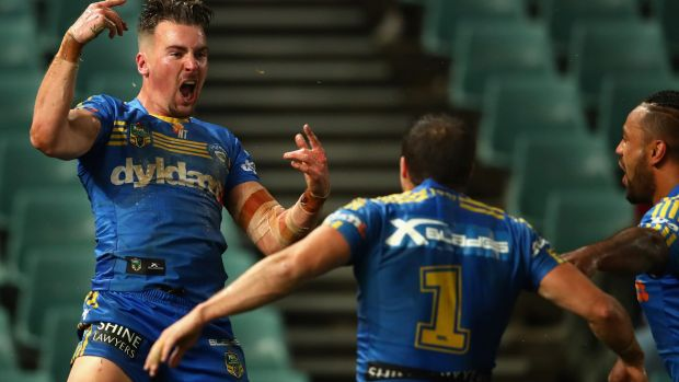 Against the odds: Clint Gutherson reacts to his match-winning try.