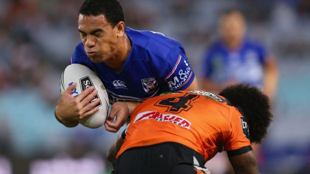 Busy night: Will Hopoate goes into contact.