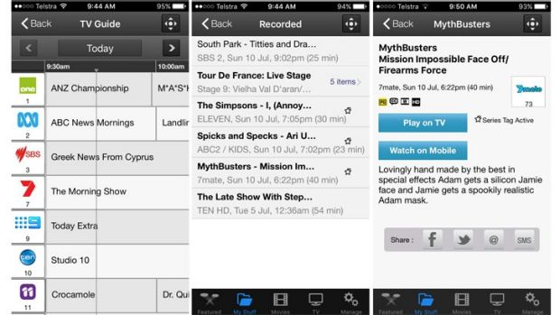 Screen shots from the Fetch TV app, which lets you schedule recordings.