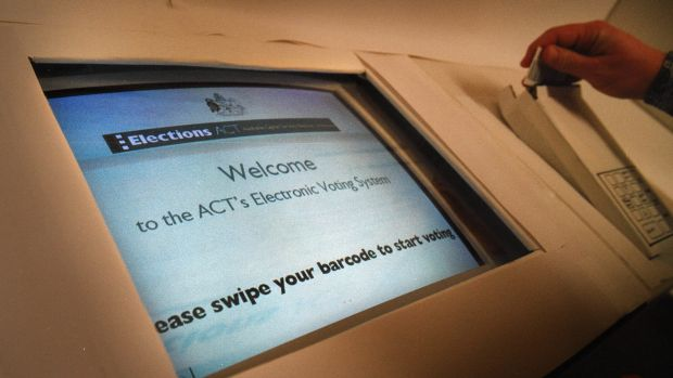 An electronic voting booth used in ACT election.