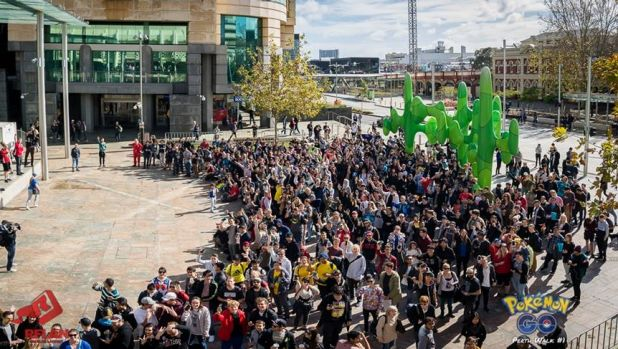 A gathering of Pokemon GO players in Perth.