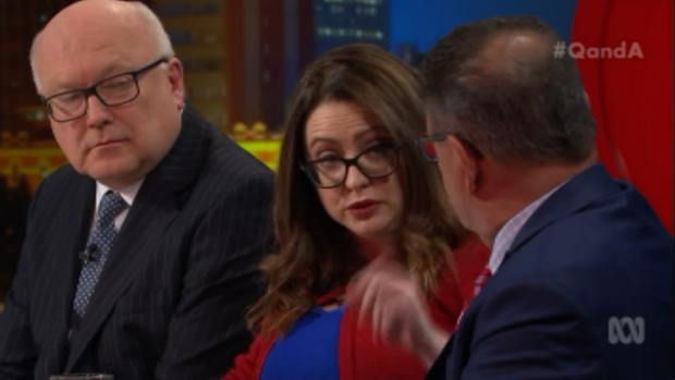 Van Badham speaks to Steve Price as George Brandis looks on.