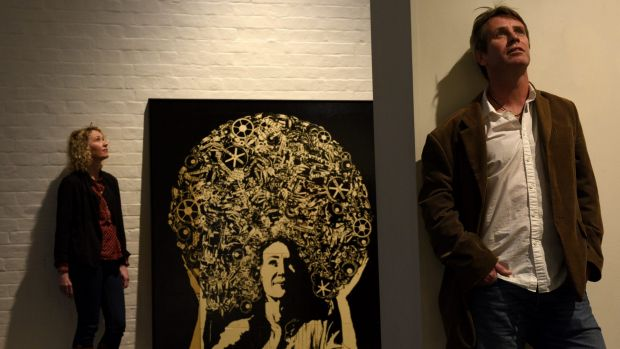 Artist James Powdtich, with his entry in the Archibald portrait prize of Cath Keenan (pictured), demonstrated an ...