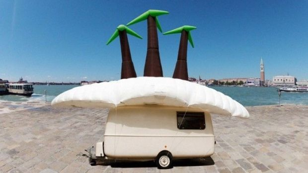 Soren Dahlgaard's inflatable tropical island visits Venice.