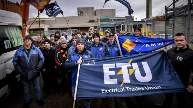 Sacked CUB workers manning the picket line on July 7.