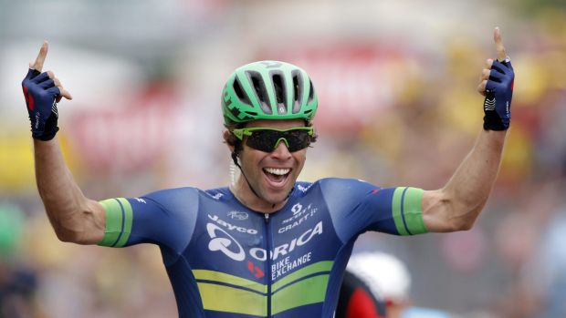 Australia's Michael Matthews celebrates as he crosses the finish line to win the tenth stage of the Tour de France.