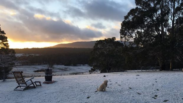 Snow just outside of Woodend looking towards Mt Macedon.