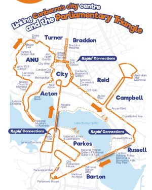 The Canberra Liberals' promised city loop, travelling clockwise into the Parliamentary Triangle, as well as the museum ...