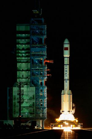 A Long March 2F rocket carrying the China's first space laboratory module Tiangong-1 lifts off in 2011.