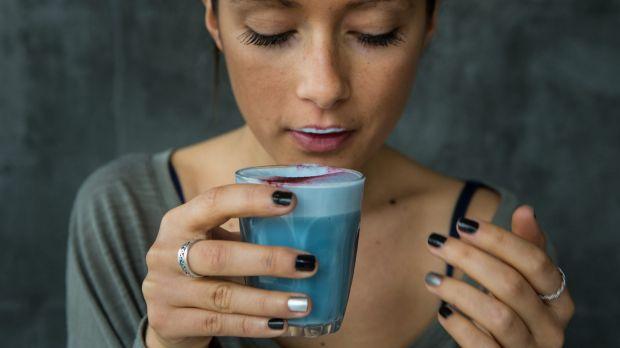 Yep, it's blue: Matcha Mylkbar co-owner Zoe Annabel with a blue algae latte.
