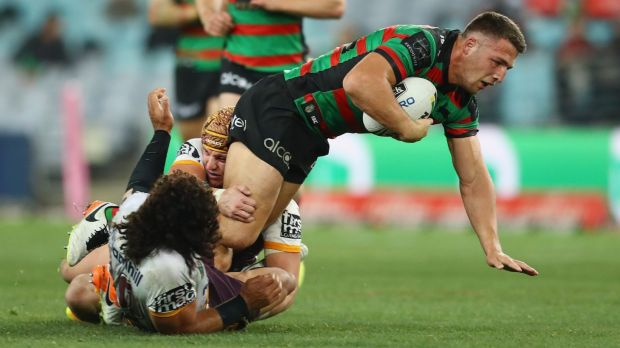 Battling: Sam Burgess and the Rabbitohs have been winless for more than two months.