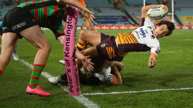 Close call: Lachlan Maranta puts a foot in touch on his way to the tryline.