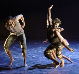 Luke Currie-Richardson and Beau Dean Riley Smith-Nyapanyapa in <I>OUR land people stories</i>.