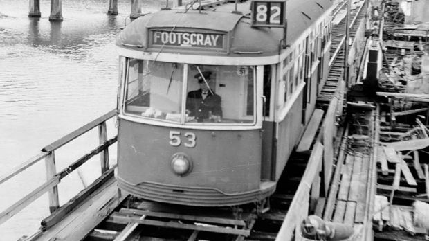 On this day in 1966: tram VR 53 crosses the Maribyrnong River on Route 82.