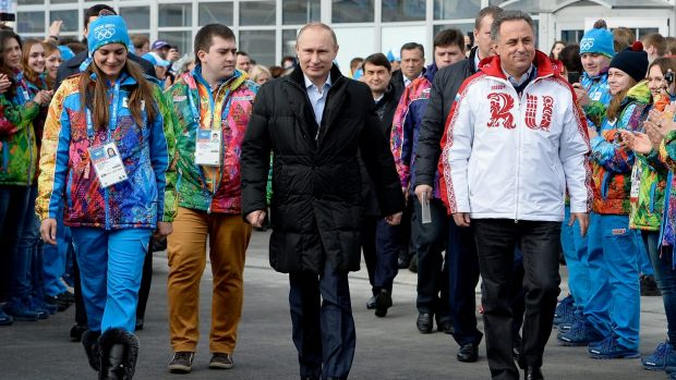 Russian President Vladimir Putin visits the Olympic Village before the Sochi 2014 Winter Olympics.