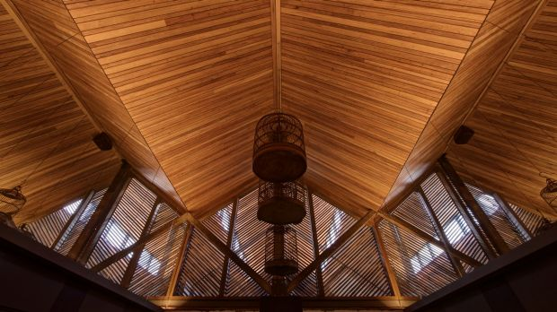 The dramatic, lantern-like pitched ceiling at Hawker Hall.