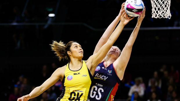 Phoenix Karaka, of Central Pulse, and Emma Ryde, of the Melbourne Vixens, compete for the ball during an ANZ ...