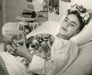Frida In Bed With Dog Portrait