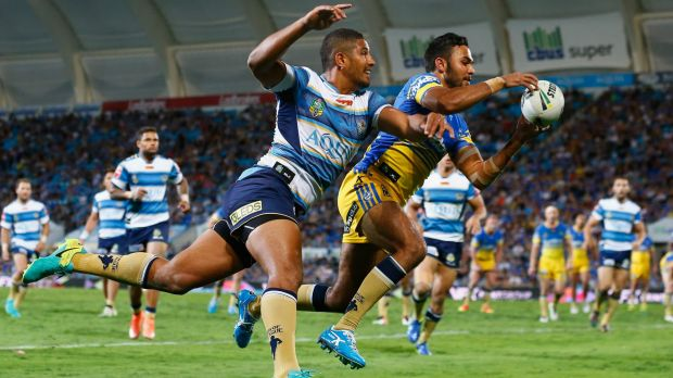 Consolation: Bevan French scores a spectacular try for the Eels.