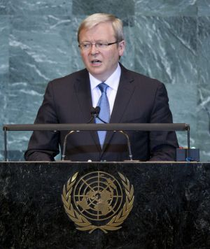 Former prime minister Kevin Rudd addresses the United Nations, while PM, in 2009.