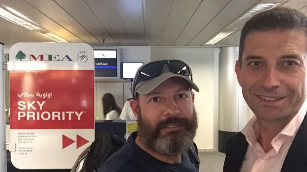 Adam Whittington (left) at Beirut airport with his lawyer Joe Karam as he prepared to fly out of Lebanon following his ...