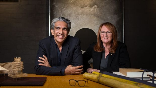 Architect Bijoy Jain and Melbourne businesswoman and philanthropist Naomi Milgrom with a model and materials for the ...
