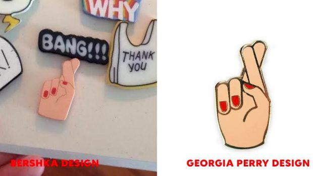 Georgia Perry compares one of her original designs to one sold in Bershka, owned by Inditex.
