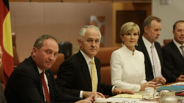 Deputy Prime Minister Barnaby Joyce, Prime Minister Malcolm Turnbull and Foreign Minister Julie Bishop in the cabinet ...