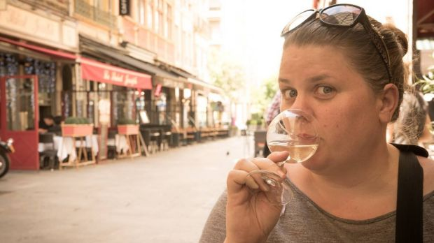 Christine Gilbert of Almost Fearless and We Create quaffing cava in Spain - a rare moment of luxury when travelling with ...