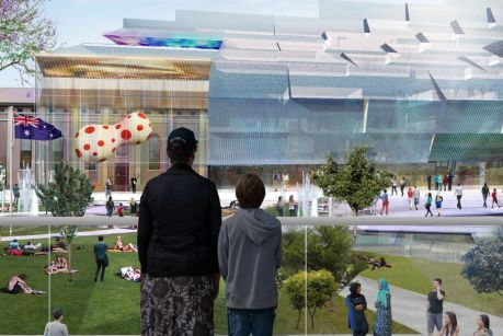 Artist impression for the winning design for Parramatta's new council and library building.