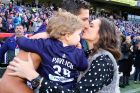 PERTH, AUSTRALIA - JULY 31:  Matthew Pavlich of the Dockers is greeted by his wife Lauren and children Harper and Jack ...