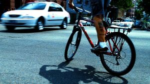 Give way: a cyclist waits at an intersection.