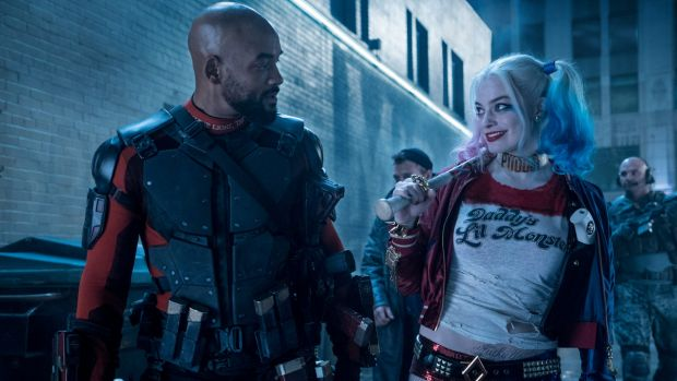 Will Smith as Deadshot and Margot Robbie as Harley Quinn in <i>Suicide Squad</i>.