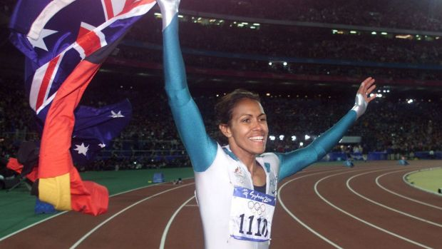 Cathy Freeman after her most famous victory at the Sydney 2000 Olympic Games.
