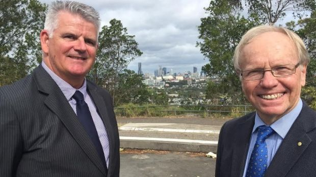 Peter Beattie with Gold Coast Commonwealth Games head of security Danny Baade.