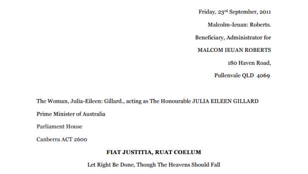 The header of an eight-page affidavit Malcolm Roberts sent to Julia Gillard about the carbon tax.