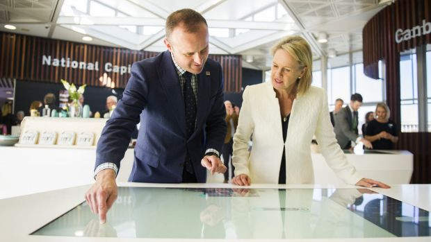 ACT Chief Minister Andrew Barr and the Federal Minister for Local Government and Territories, Fiona Nash inside the new ...