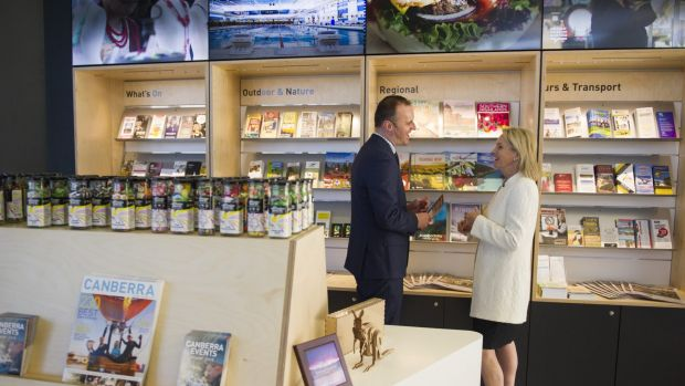 ACT Chief Minister Andrew Barr and the Federal Minister for Local Government and Territories, Fiona Nash, inside the new ...