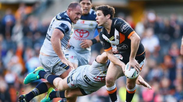 Playmaker: Mitchell Moses looks for support.