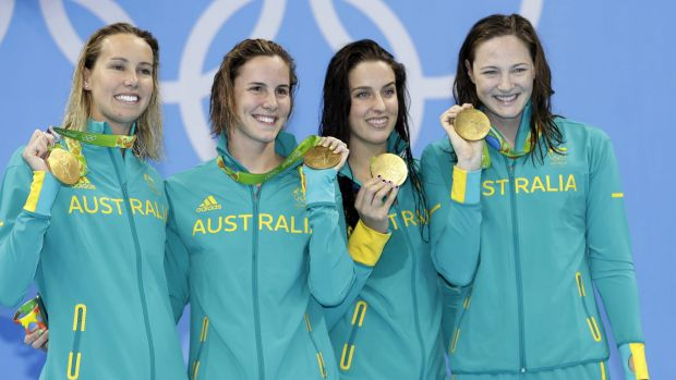 Golden age: Australia's 4x100m freestyle relay team of Emma McKeon, Bronte Campbell, Brittany Elmslie and Cate Campbell ...