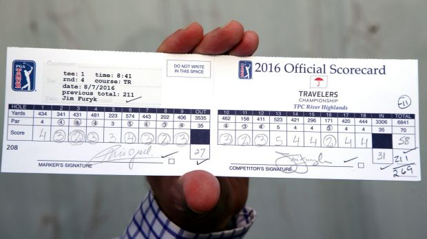 jim furyks scorecard from his record setting 58 during the final round of the travelers