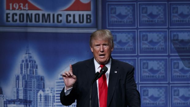 Republican presidential candidate Donald Trump delivers an economic policy speech to the Detroit Economic Club.