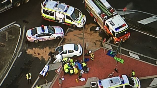 A truck and car crash blocked the Cunningham Highway at Amberley.