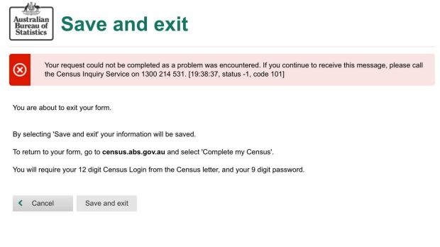 An error message seen when trying to submit the census.