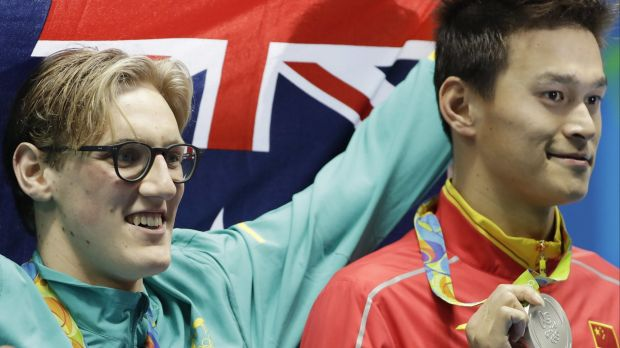 Rivals: Horton with Sun Yang on the dais at the Rio Olympics in August.