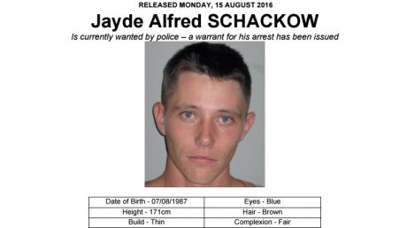 Wanted notice: Jayde Alfred Schackow was arrested following a nation-wide manhunt.