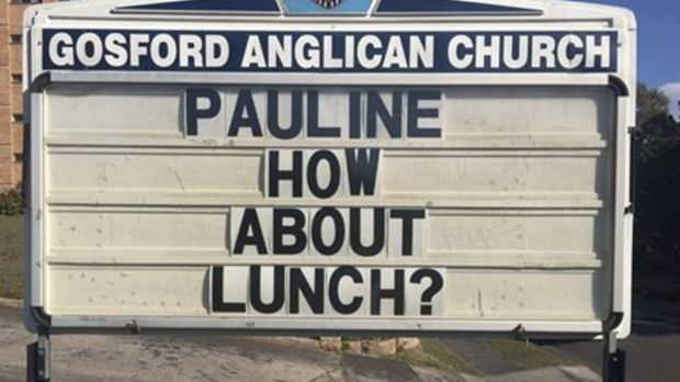 Gosford Anglican Church has invited Pauline Hanson to lunch to discuss a 'safe and harmonious' Australia.