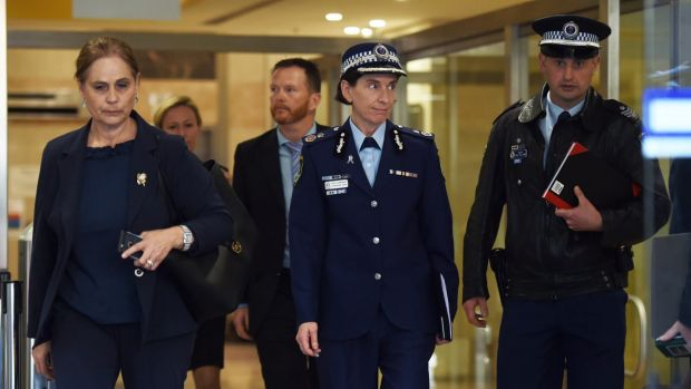 NSW Police Deputy Commissioner Catherine Burn, centre, leaves after giving evidence at the Lindt cafe siege inquest on ...